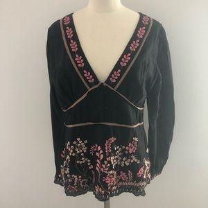 Sundance Silk Blend Embroidered V Neck Blouse 12